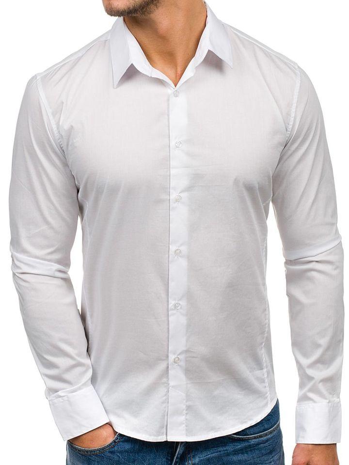 Cămașă elegantă pentru bărbat cu mâneca lungă albă Bolf 142