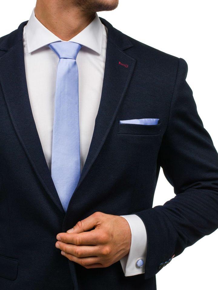 Set pentru bărbat cravată, butoni, batistă violet-deschis Bolf KSP01 imagine