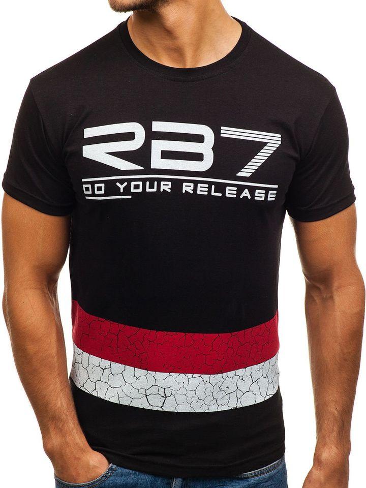 T-shirt pentru bărbat cu imprimeu negru Bolf 0008 imagine