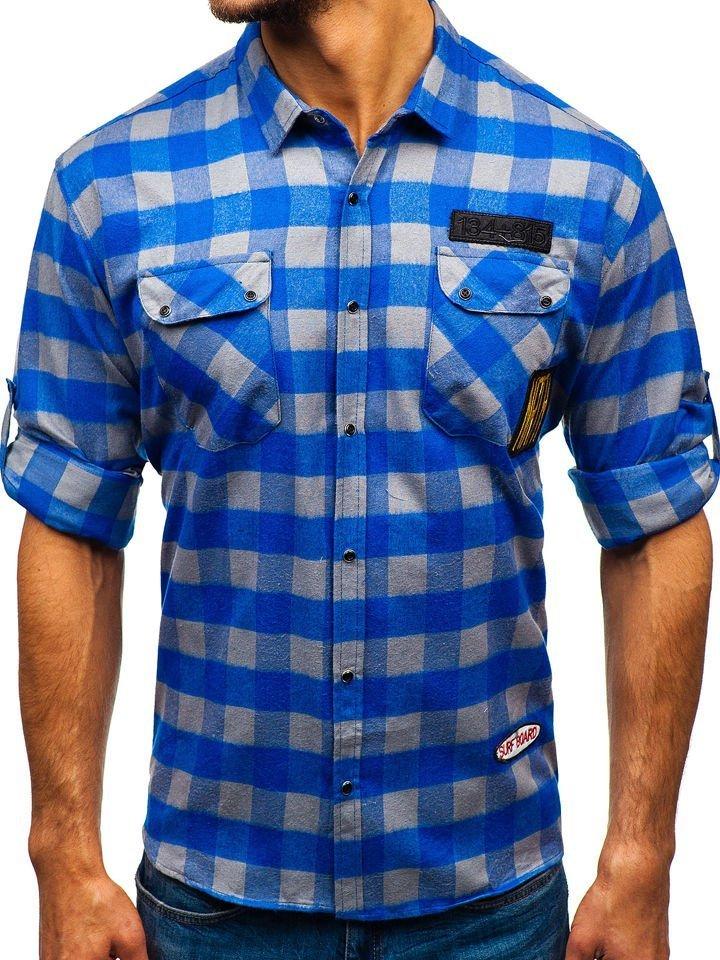 Cămașă din flanel pentru bărbat cu mâneca lungă albastru-gri Bolf 2503