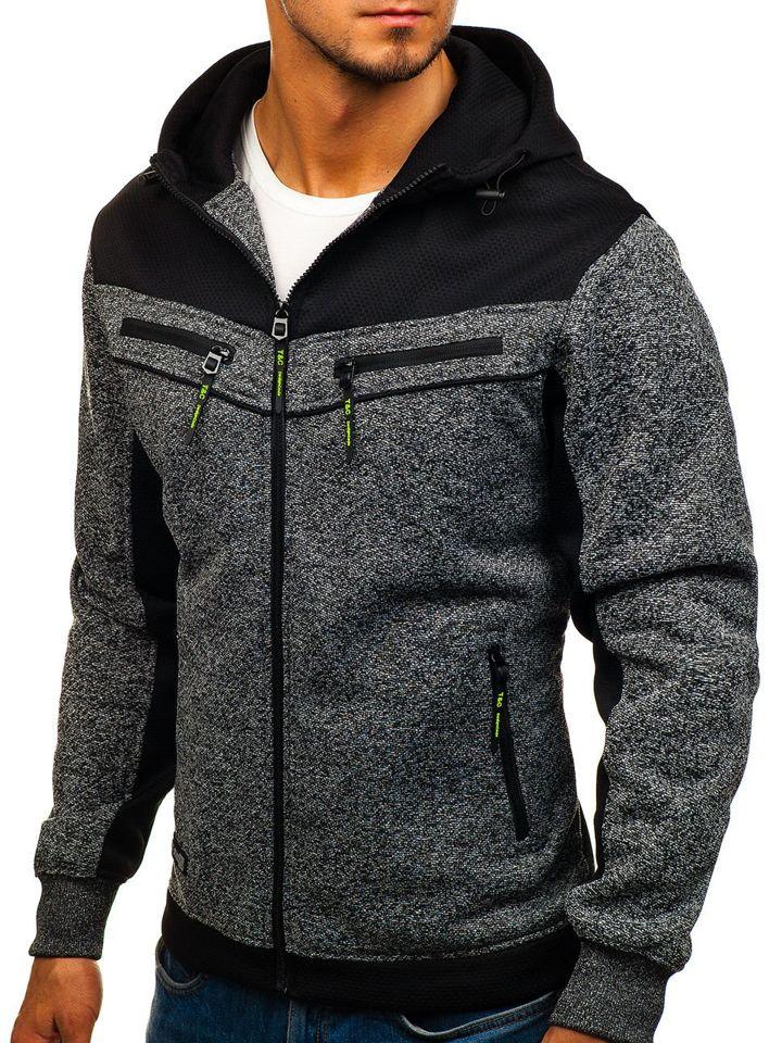 Bluză cu glugă și fermoar pentru bărbat grafit Bolf TC887
