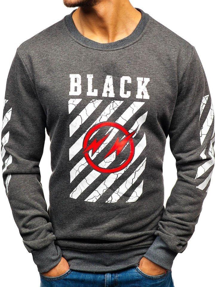 Bluză fără glugă cu imprimeu pentru bărbat grafit Bolf 22012