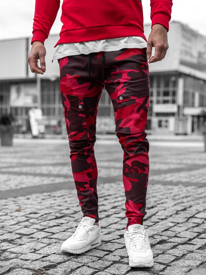 Pantaloni cargo joggers camuflaj-roșu Bolf 1003