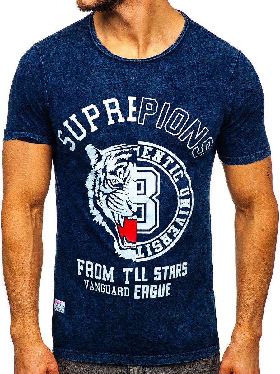 Tricou bleumarin cu imprimeu bărbati Bolf HFM015