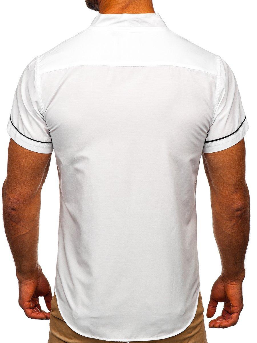 Cămașă pentru bărbat cu mâneca scurtă albă Bolf 5518 imagine