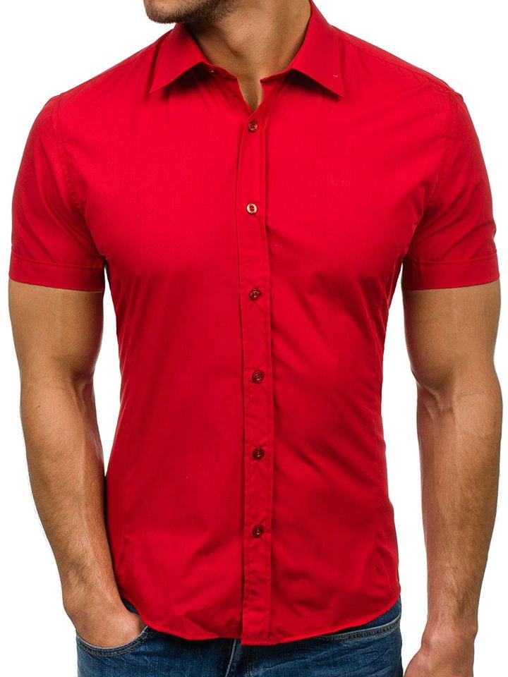 Cămașă elegantă pentru bărbat cu mânea scurtă roșie Bolf 7501