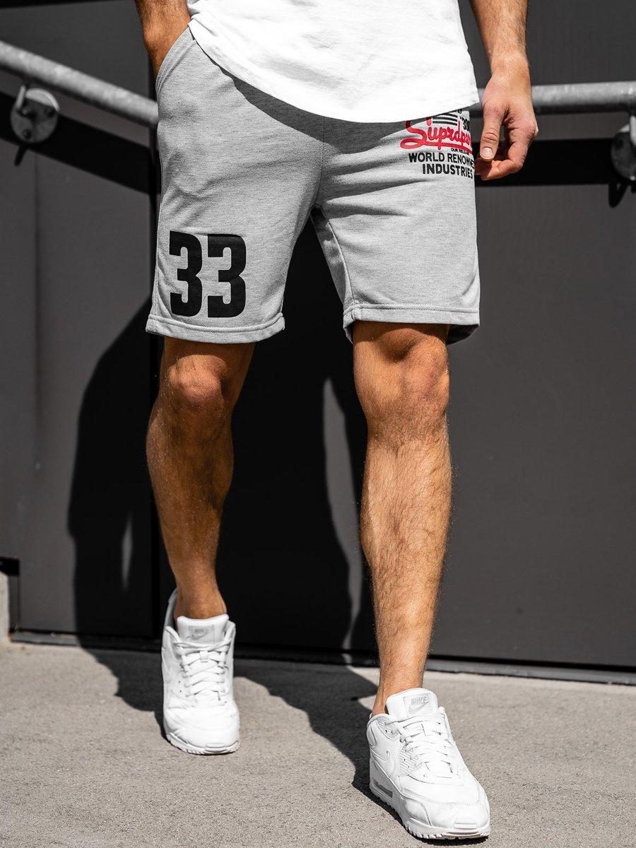 Pantaloni scurți sportivi pentru bărbat gri Bolf EX06 imagine
