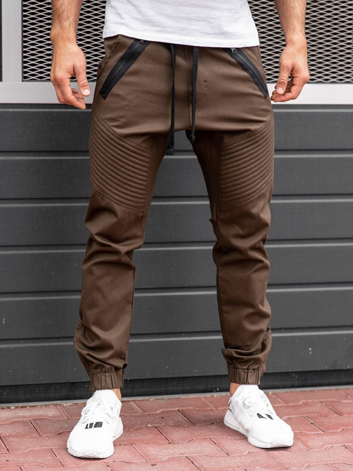 Pantaloni jogger bărbați maro Bolf 0952