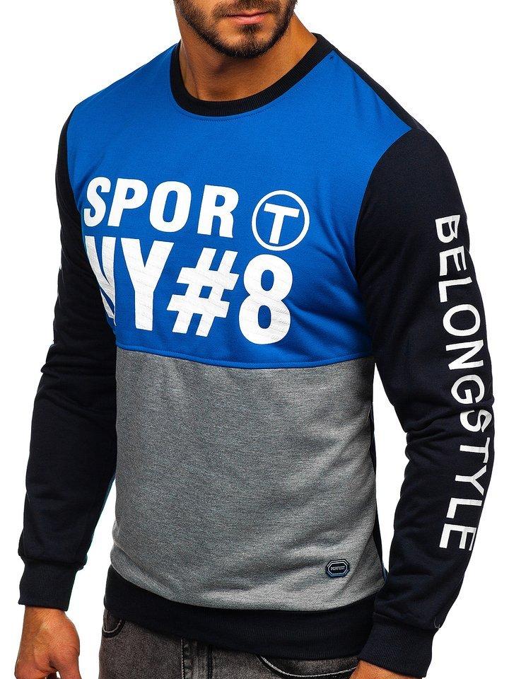 Bluza cu imprimeu bărbati albastra Bolf HY541