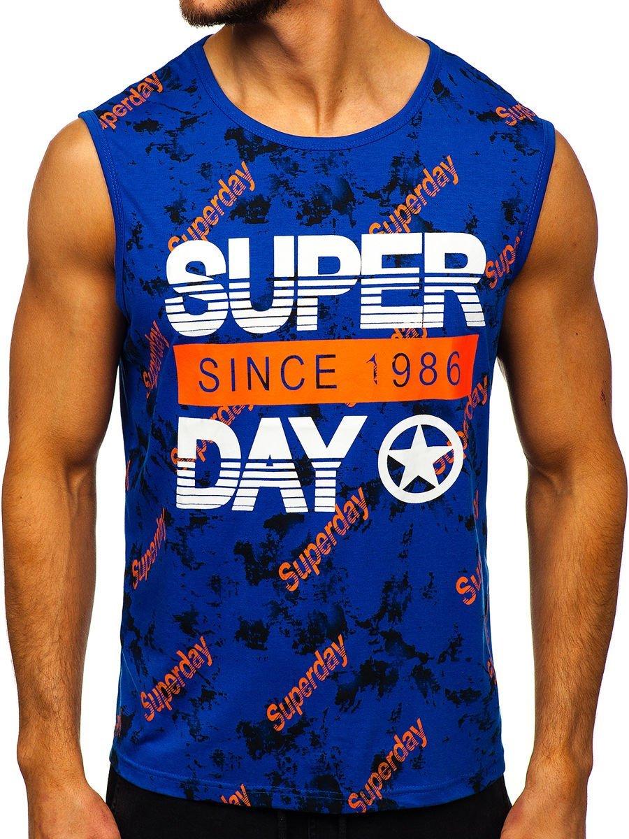 Tricou albastru cu imprimeu bărbati Bolf KS2093