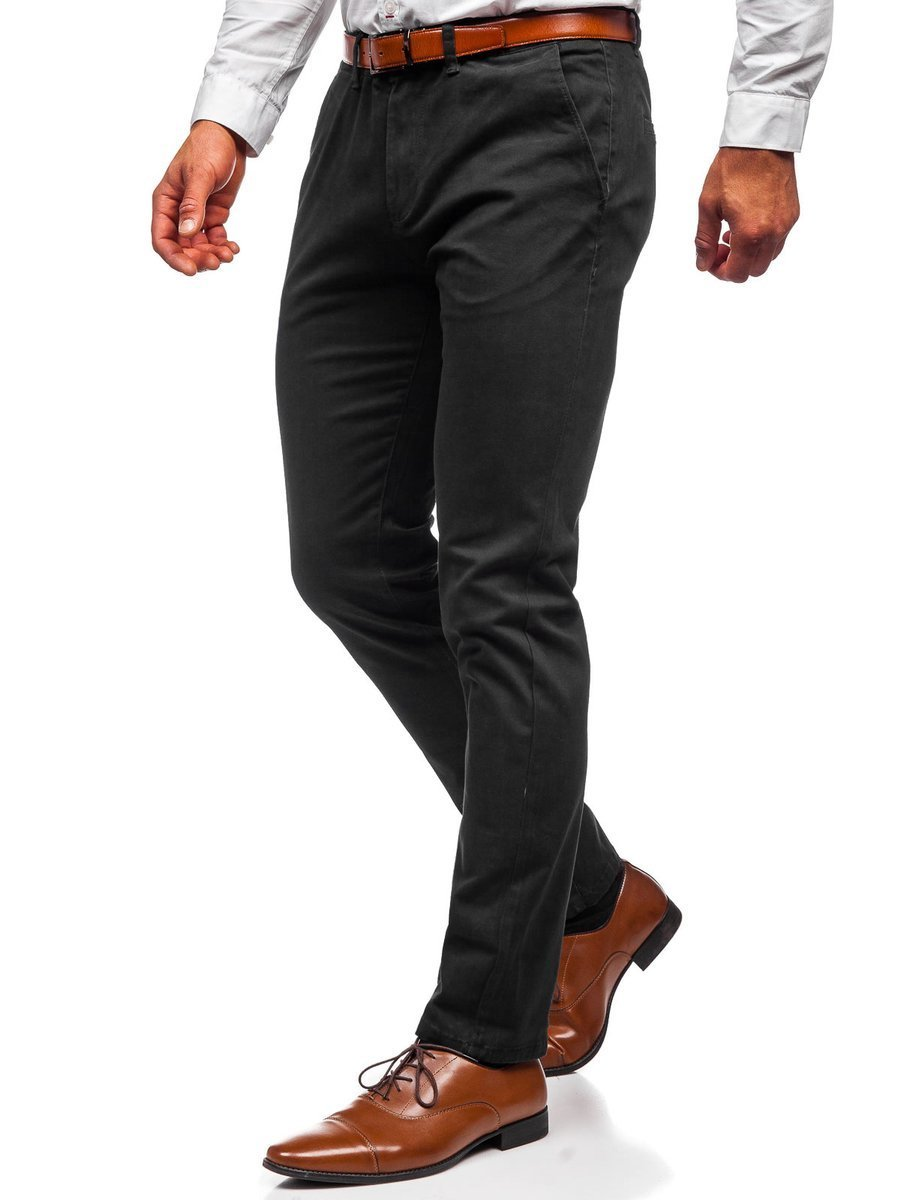 Pantaloni chinos negri bărbati Bolf 1143 imagine