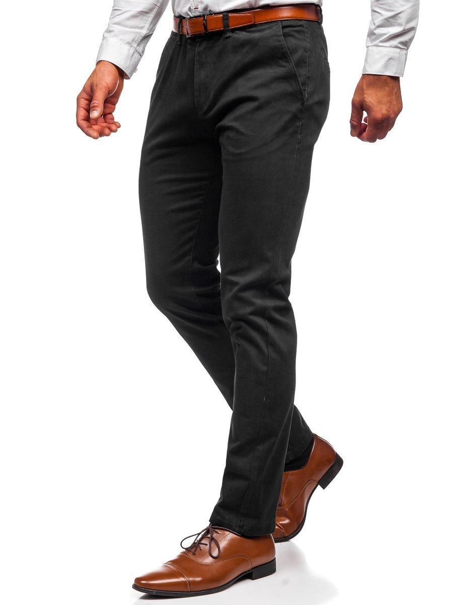 Pantaloni chinos negri bărbati Bolf 1143 imagine