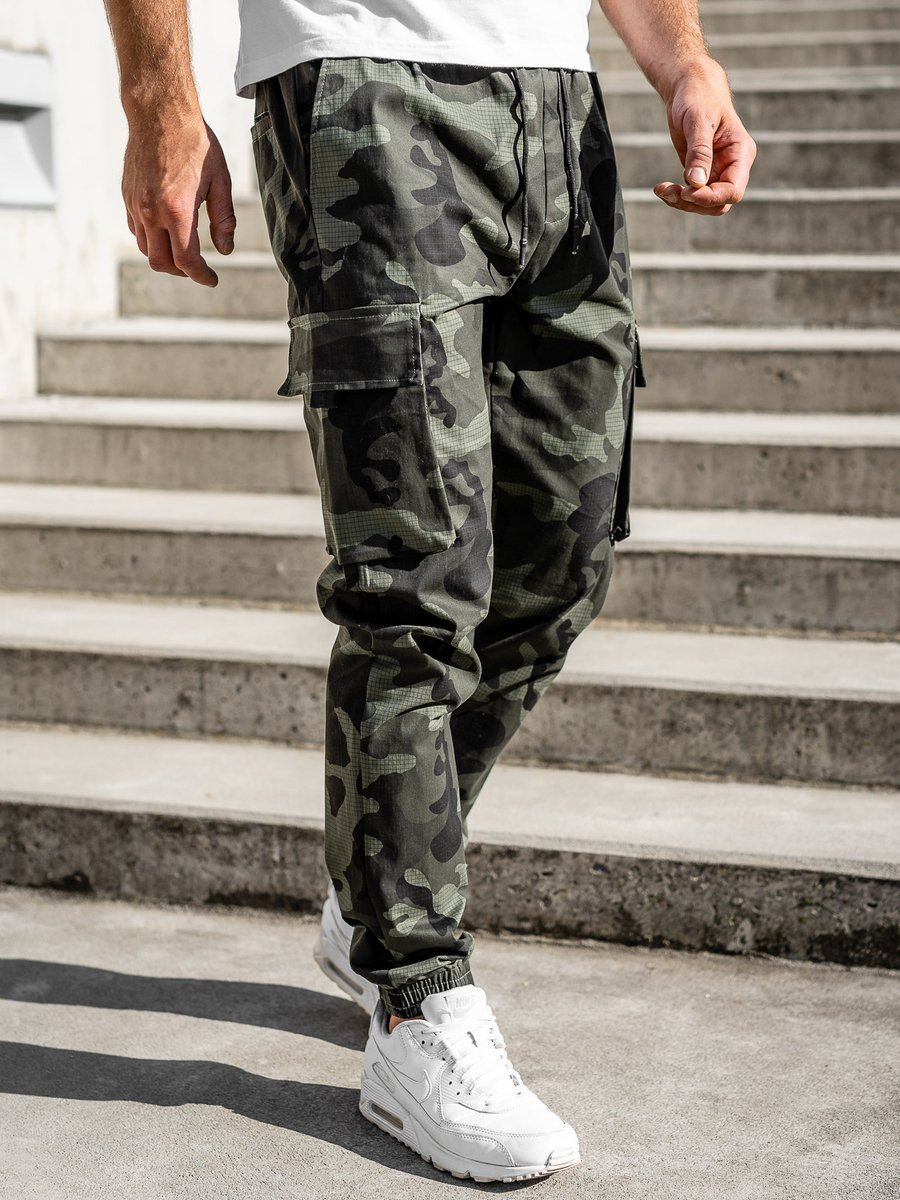 Pantaloni joggers cargo verzi Bolf 702 imagine