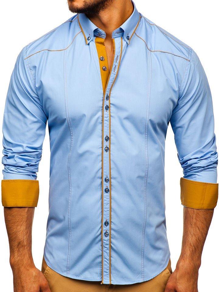 Cămașă elegantă pentru bărbat cu mâneca lungă albastru-deschis Bolf 4777