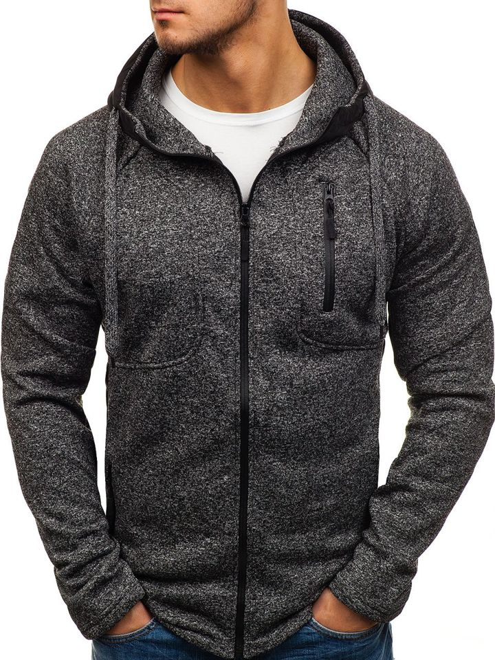 Bluză cu glugă pentru bărbat neagră Bolf 2920