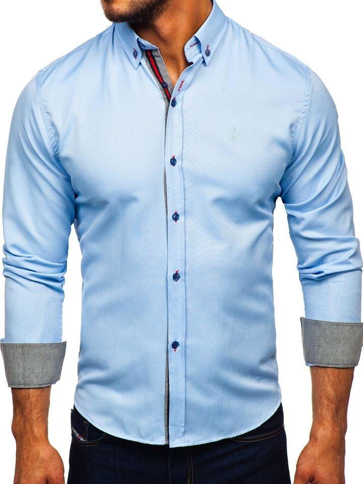Cămașă elegantă bărbați albastru Bolf 5801-A