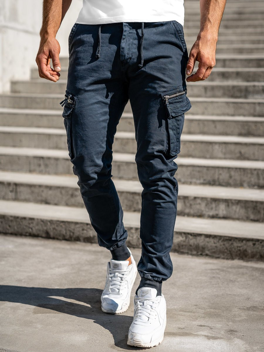 Pantaloni cargo joggers bleumarin Bolf 8976