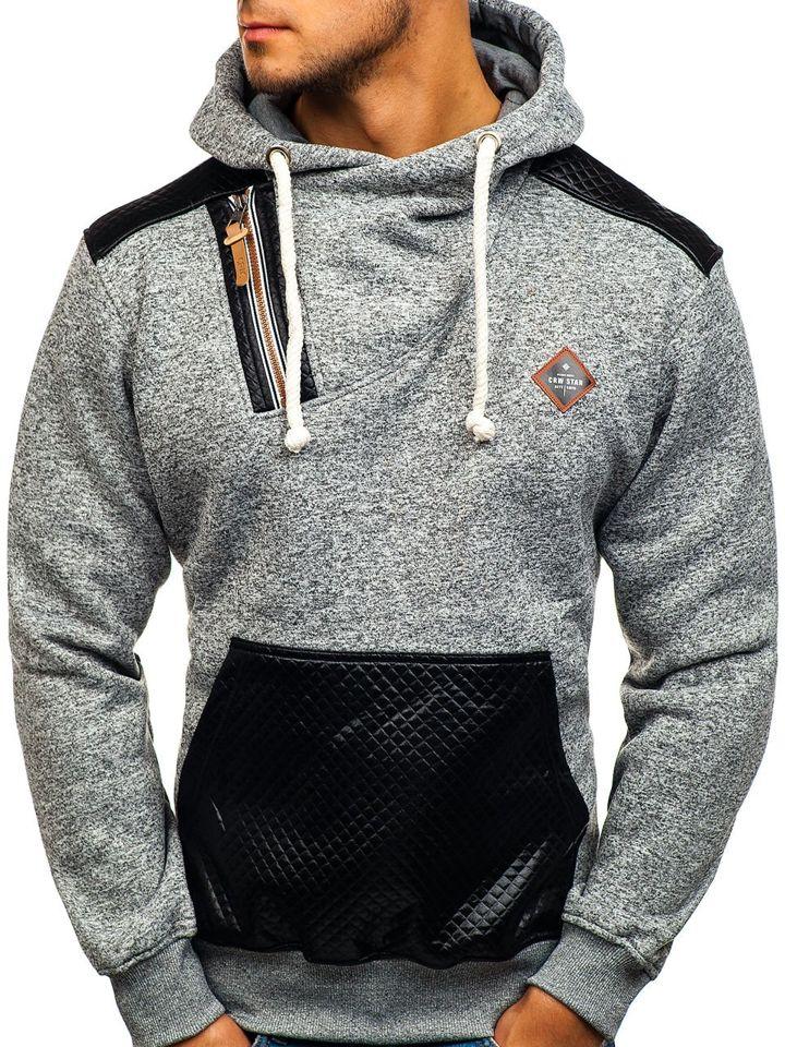 Bluză pentru bărbat cu glugă gri Bolf 3568