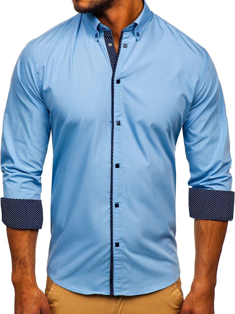Cămașă elegantă pentru bărbat cu mâneca lungă albastru-deschis Bolf 7724