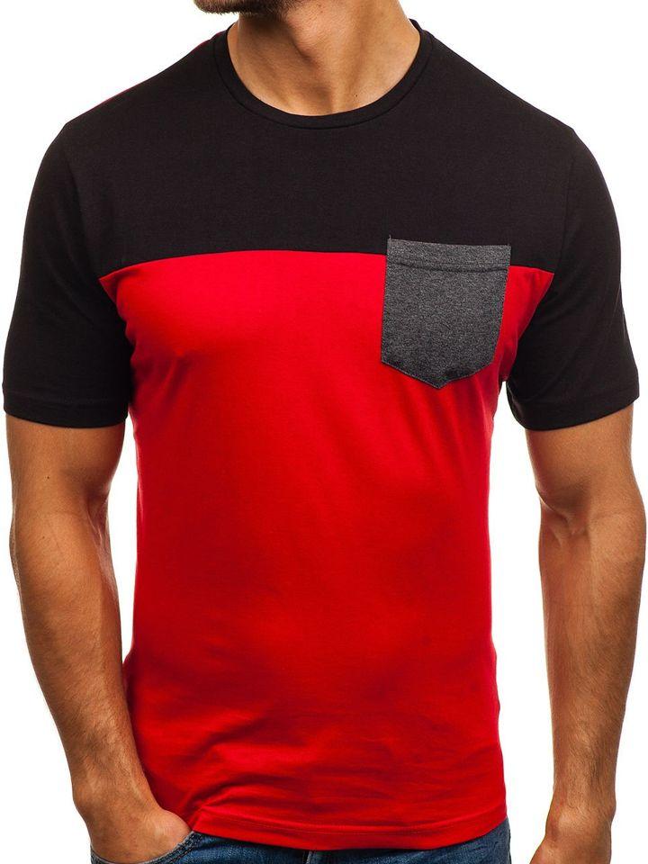 T-shirt pentru bărbat cu imprimeu roșu Bolf 6309