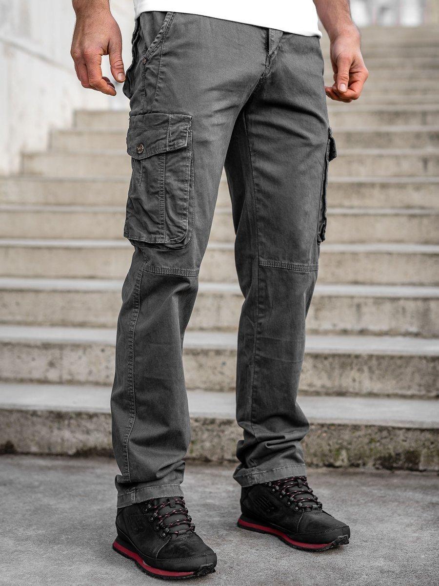 Pantaloni gri cargo cu curea Bolf CT8902 imagine