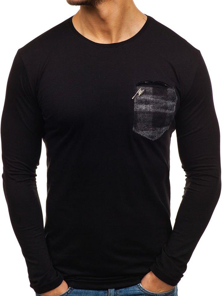 Long sleeve fără imprimeu pentru bărbat negru-gri Bolf 355