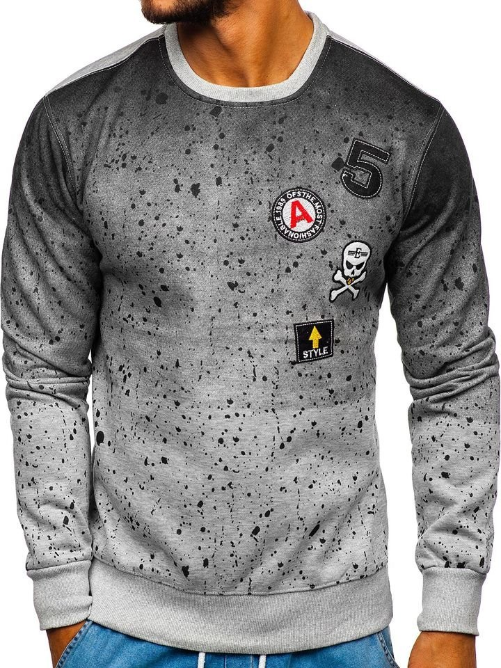 Bluză fără glugă pentru bărbat gri Bolf DD13 imagine
