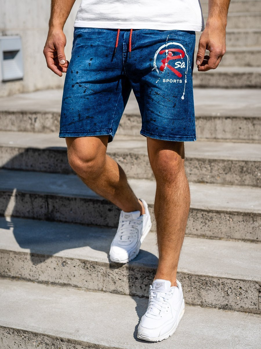 Pantaloni scurți denim bleumarin Bolf KK1075 imagine