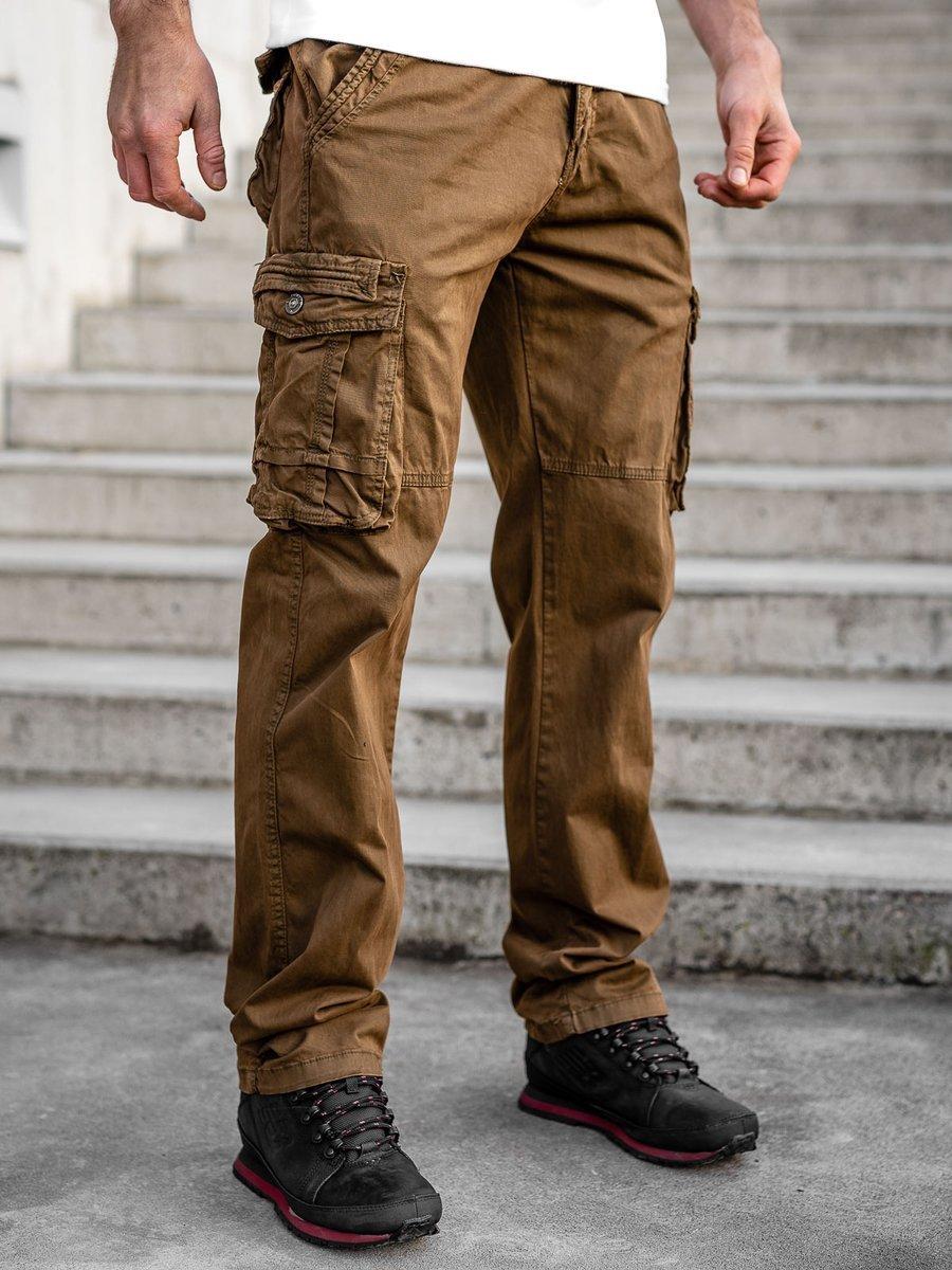 Pantaloni plus size maro cargo cu curea Bolf CT8901 imagine