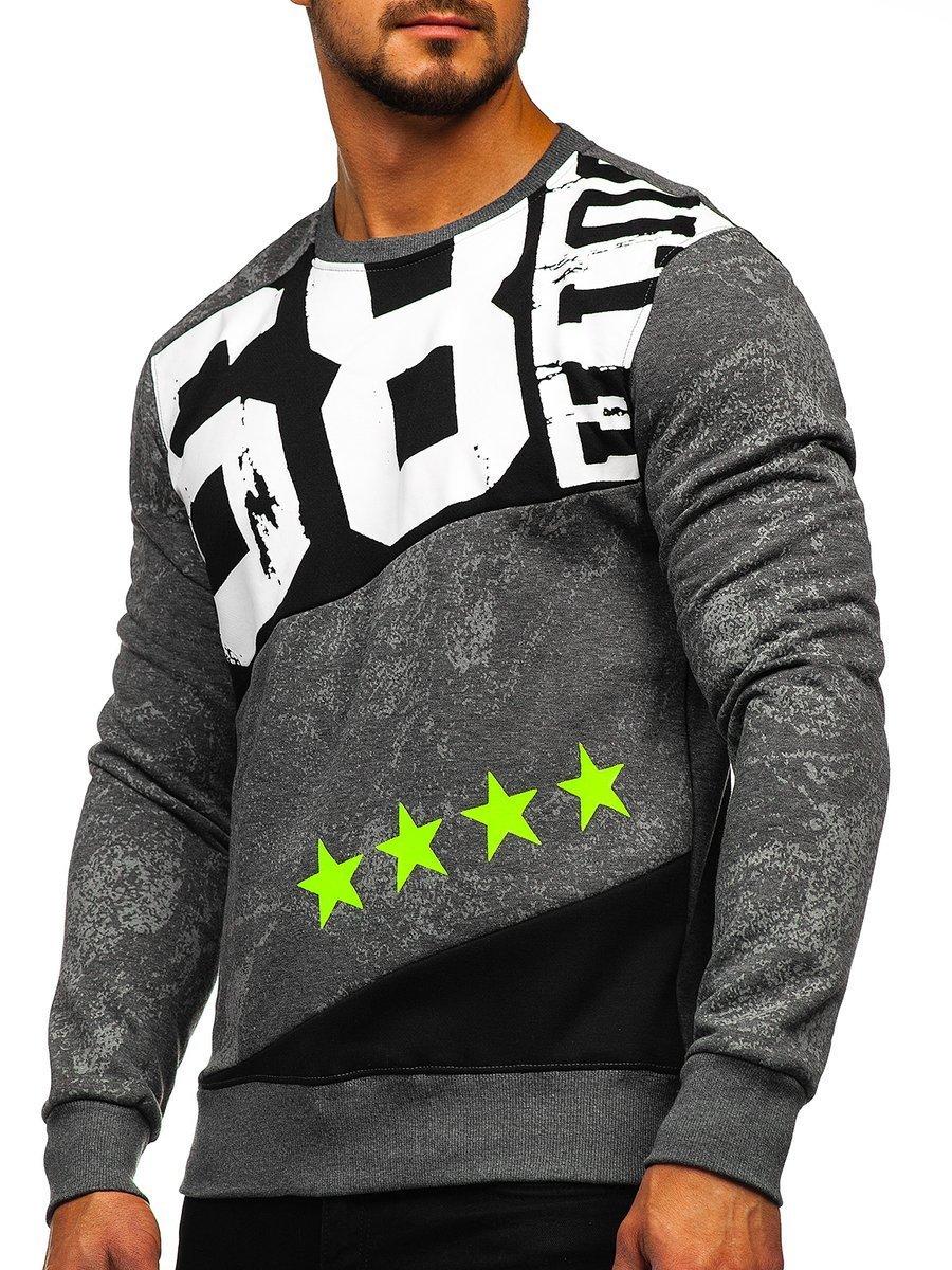 Bluză pentru bărbat fără glugă cu imprimeu grafit Bolf DD108