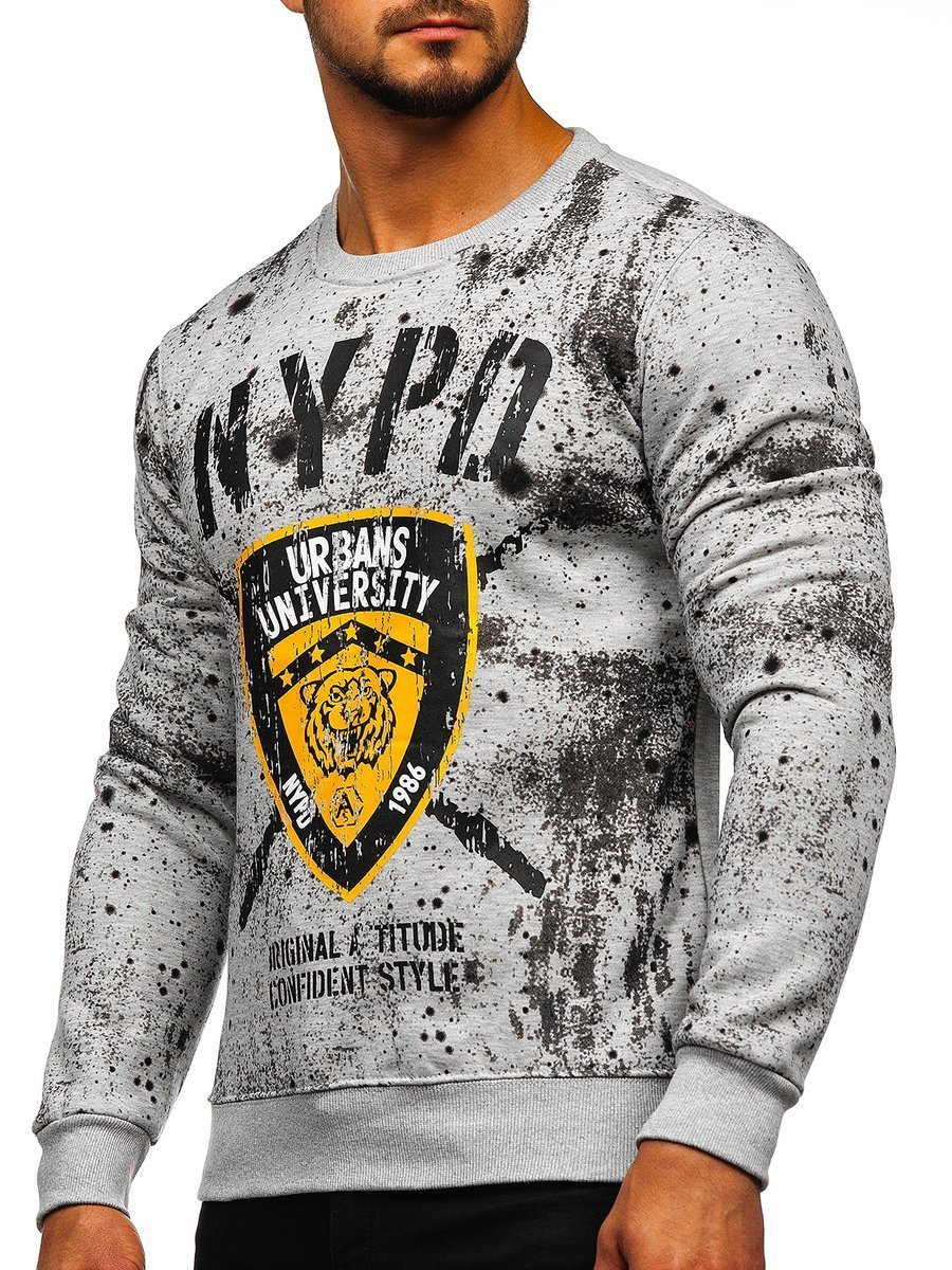 Bluză cu imprimeu gri bărbați Bolf DD261