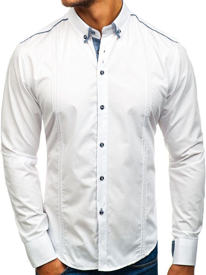 Cămașă elegantă pentru bărbat cu mâneca lungă albă Bolf 8821