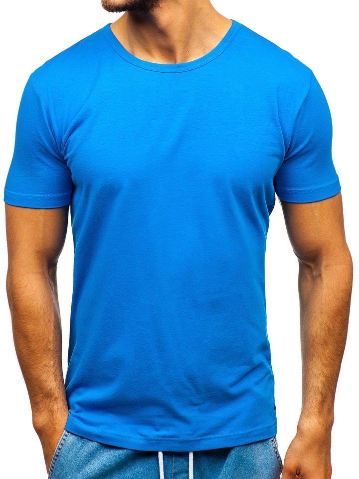 T-shirt pentru bărbați fără imprimeu albastru Bolf T1042