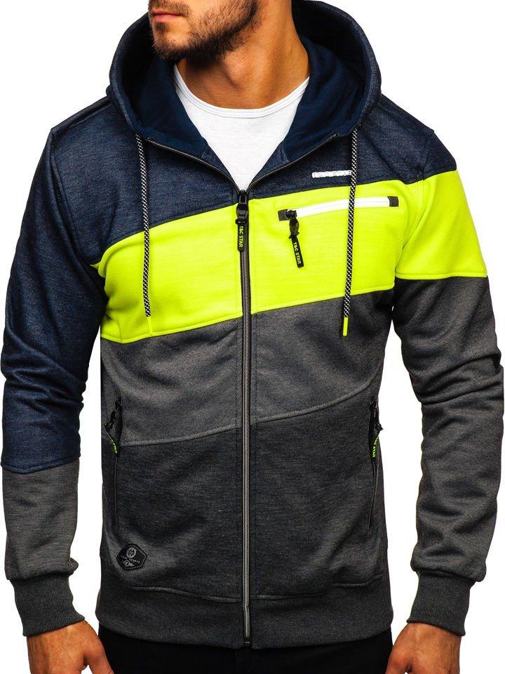 Bluză pentru bărbat cu glugă și fermoar multicolor Bolf 2103D