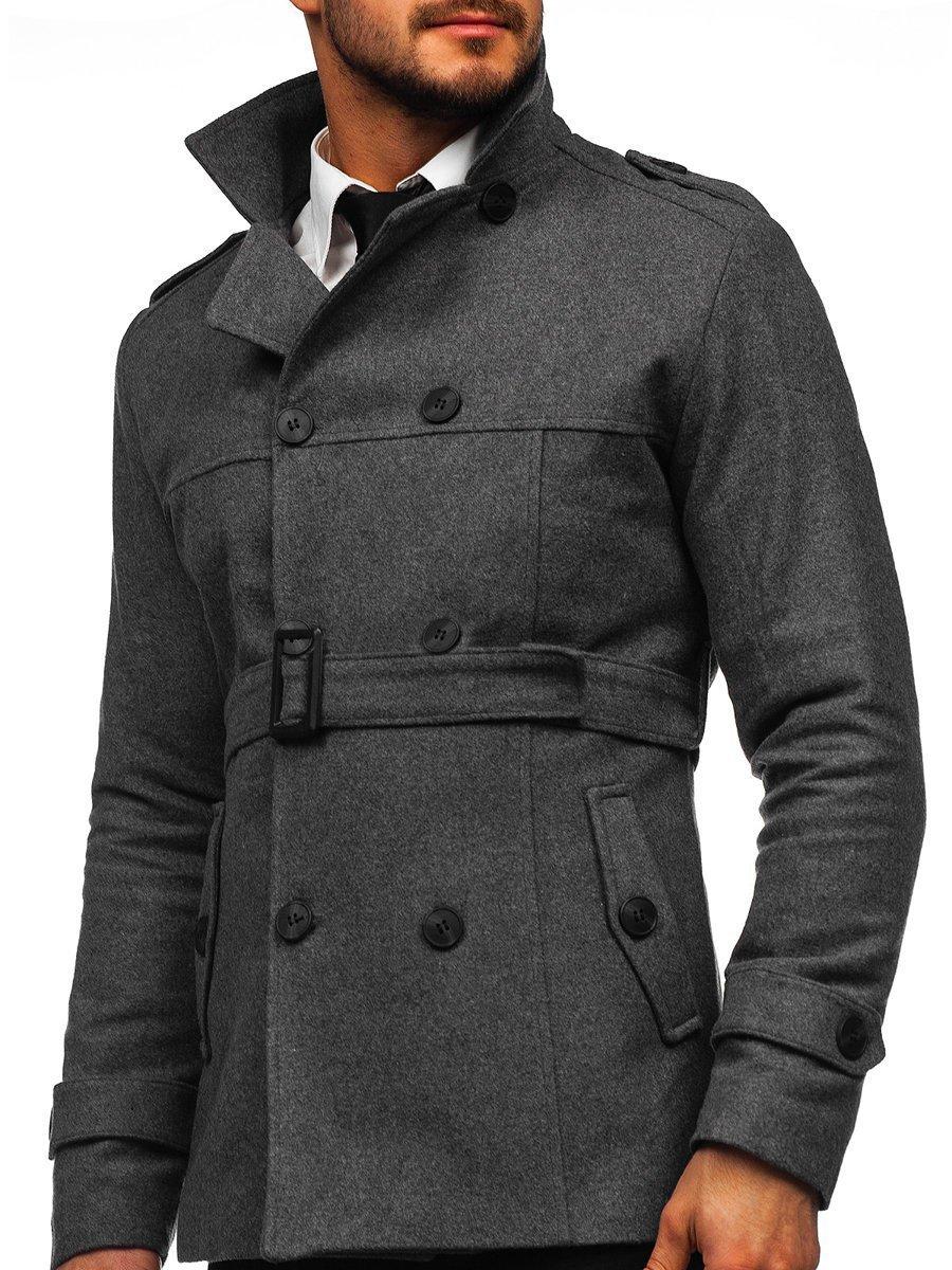 Palton gri de iarnă două rânduri de nasturi guler înalt Bolf 0009 imagine