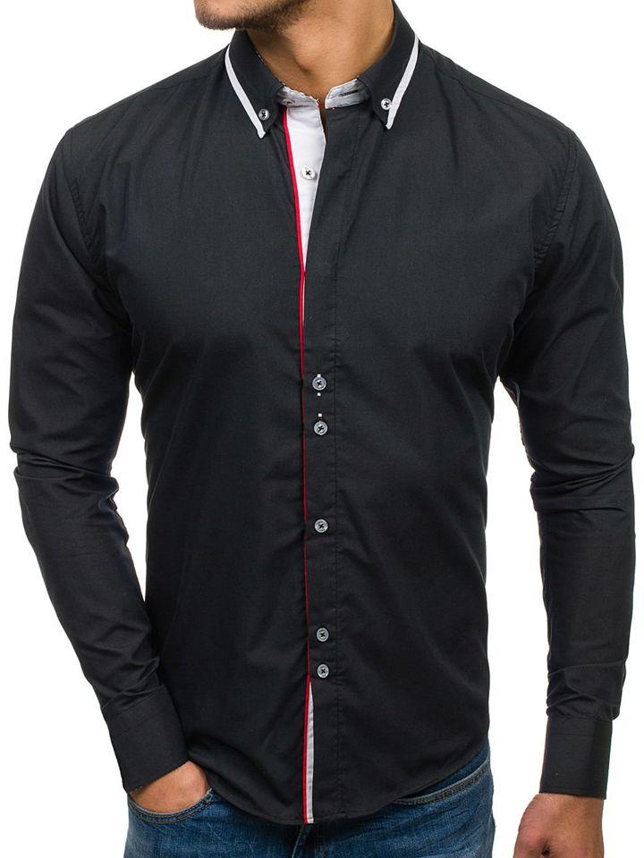 Cămașă elegantă pentru bărbat cu mâneca lungă neagră Bolf 6857
