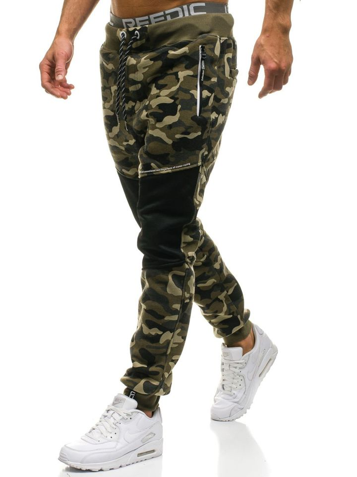 Pantaloni de trening bărbați camuflaj-verde Bolf QN274