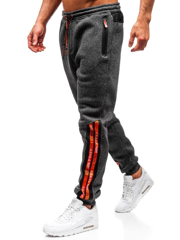 Pantaloni de trening bărbați negru-portocaliu Bolf Q3869