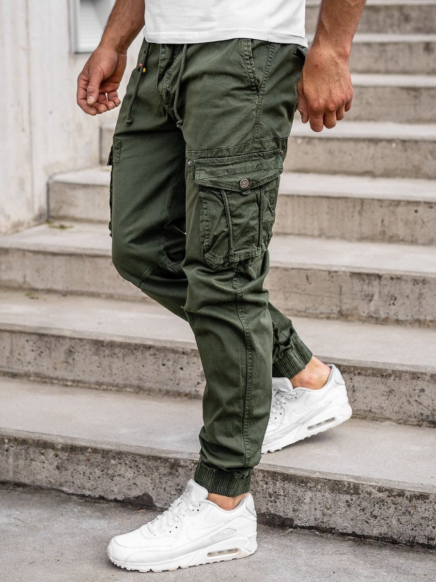 Pantaloni cargo joggers verde- închis bărbați Bolf CT6703