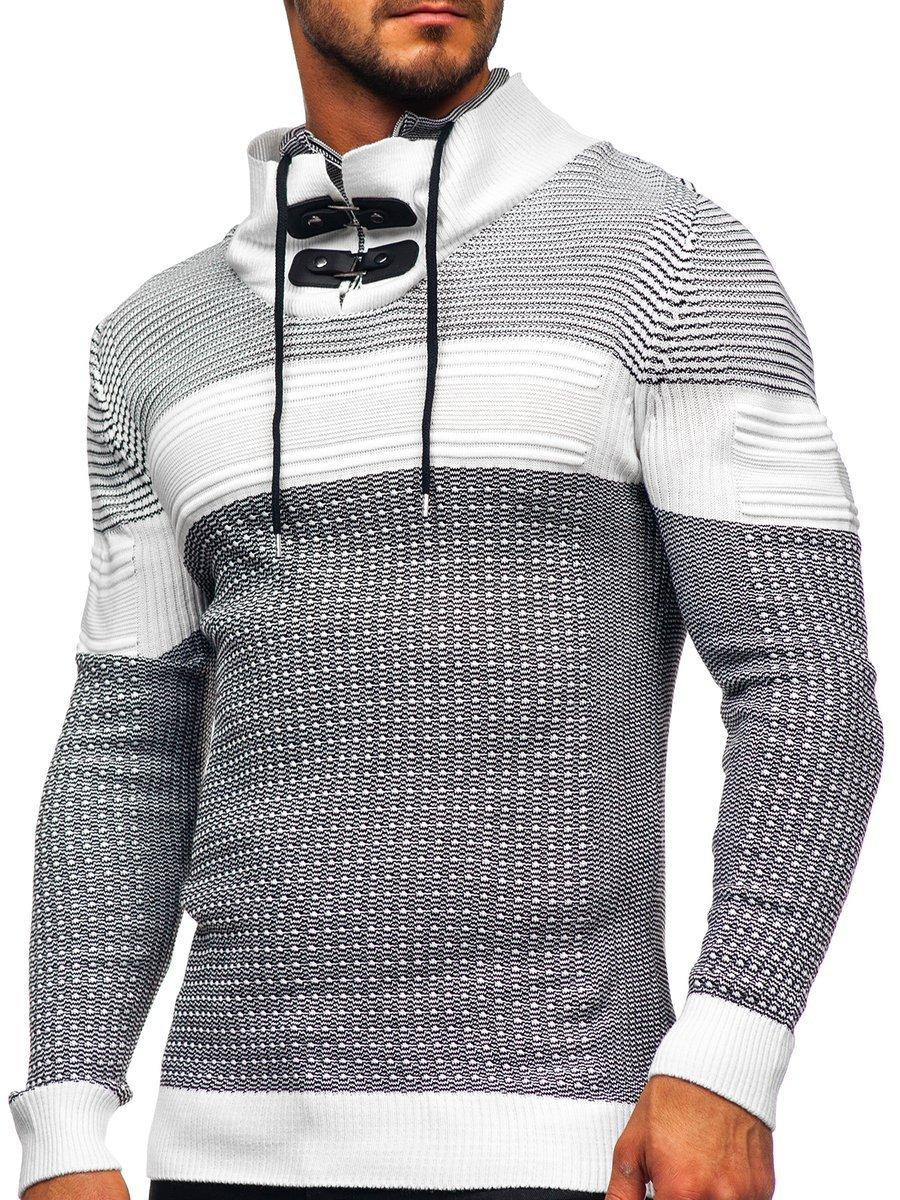 Pulover gros alb Bolf 1035 imagine