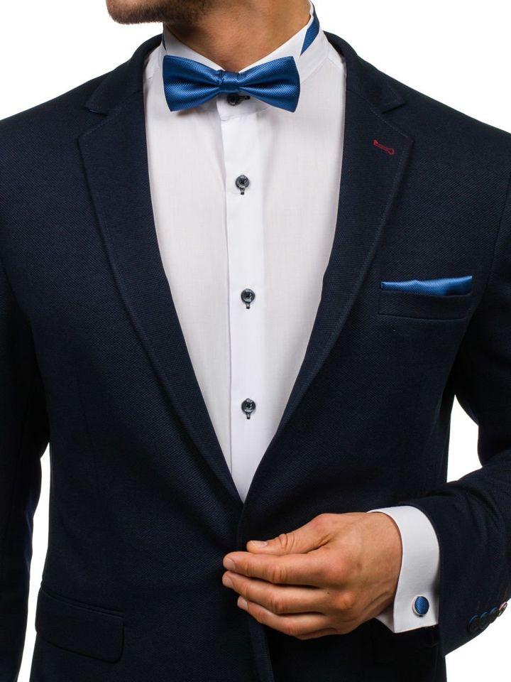 Set bărbați, papion, butoni, batistă albastru Bolf MSP01