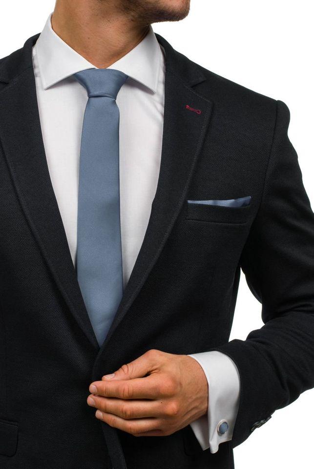 Set pentru bărbat cravată, butoni, batistă gri-închis Bolf KSP01
