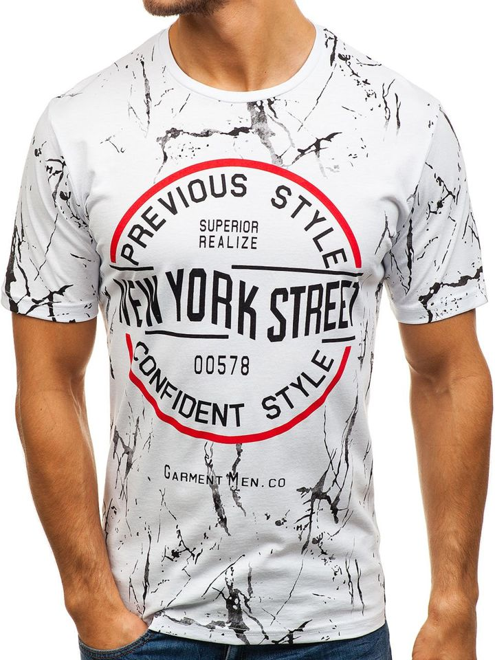 T-shirt pentru bărbat cu imprimeu alb Bolf 6301 imagine