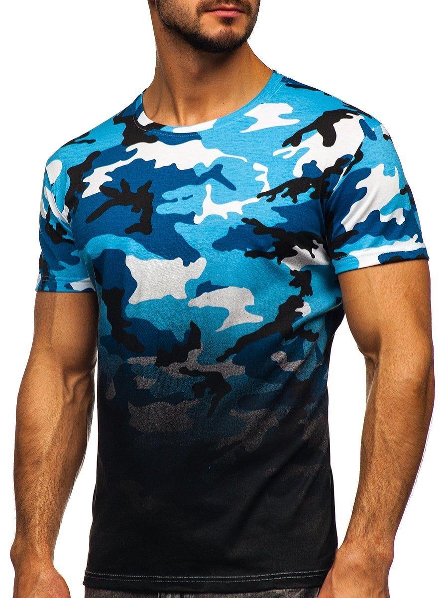 Tricou cu imprimeu bărbați camuflaj-albastru Bolf S808
