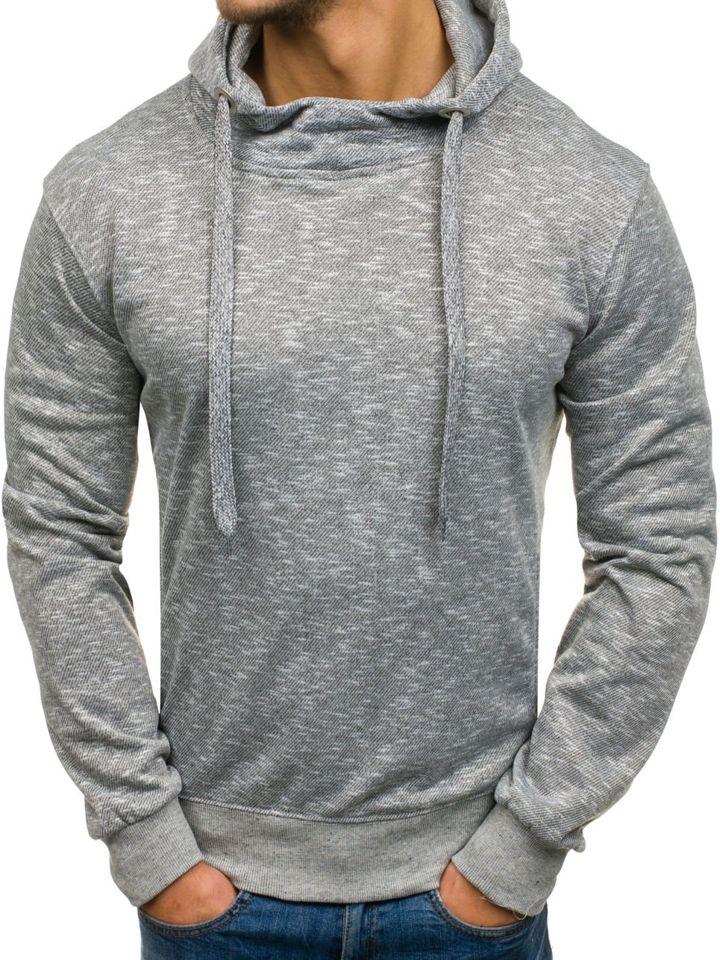 Bluză cu glugă pentru bărbat gri-deschis Bolf 7033
