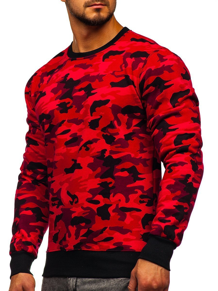 Bluză pentru bărbat fără glugă cu imprimeu camuflaj-roșie Bolf DD129-2