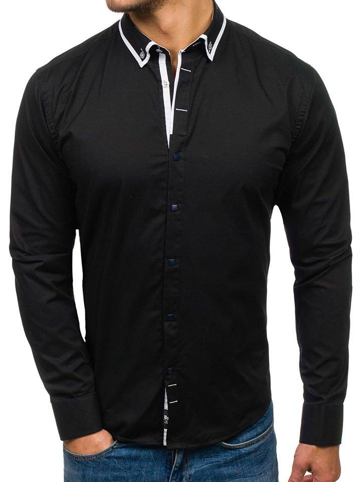 Cămașă elegantă pentru bărbat cu mâneca lungă neagră Bolf 7713