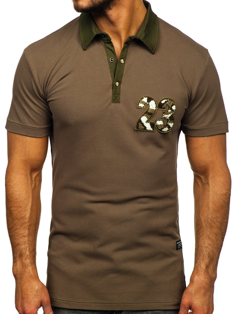Tricou polo pentru bărbat kaki Bolf 2058 imagine
