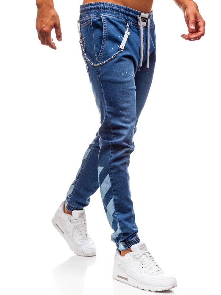 Jeanși baggy pentru bărbat albaștri Bolf 2040