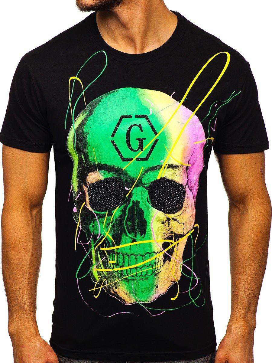 Tricou negru cu imprimeu bărbați Bolf KS2107